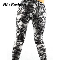Gothic style punk rock women printed long leggings mid-waist skull pattern fitness cotton