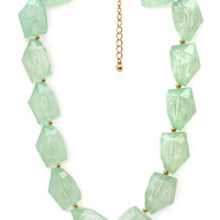 FOREVER 21 Milky Glass Bead Necklace Gold/Mint One