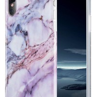 iPhone X Case, Caka iPhone X Marble Case Slim Anti-Scratch Shock-Proof Luxury Fashion Silicone Soft Rubber TPU Protective Case for iPhone 10 - (Pink)