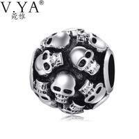 Skull Charms Beads fit Pandora Necklace Bracelet for Man Jewelry DIY Chain with Cool Skull Beads TZ035