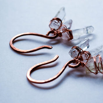 Anandalite rainbow aurora borealis crystal quartz point and hammered antiqued solid copper weights for stretched ears