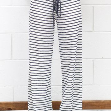 Striped Terry Lounge Pants {Navy}