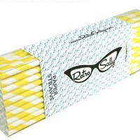 """Paper Straws 8"""" - Pack of 50 Yellow Stripe by Retro Sally"""