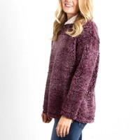 Frosty Tipped Sherpa Pullover in Burgundy by Peach Love KJ25015-01 BURG