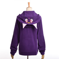 Anime Sailor Moon Hoodie Women Cartoon Casual  Luna Cat Ears Hooded Coat Zipper Sweatshirt Jacket Outwear White/Purple