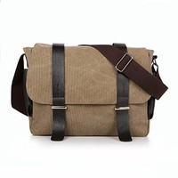 Vere Gloria Mens Canvas Messenger Bag 14 Inch Laptop Cross Body Bags for College Students Business Man