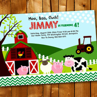 Farm Chevron, Birthday Invitation, Birthday Party for little boy and little girl