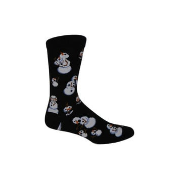 Twisted Snowmen Crew Socks in Black