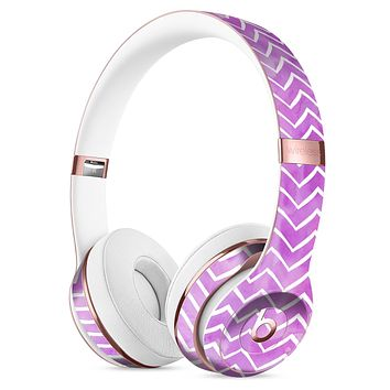 White Chevron Over Purple Grunge Surface Full-Body Skin Kit for the Beats by Dre Solo 3 Wireless Headphones