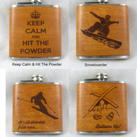 Flask for the Ski & Snowboard Fans - Hand Dyed Engraved Leather Wrap - FREE Monogramming