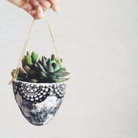 Lace Hanging Planter - Ceramics and Pottery - Hanging Planter - Gifts for her