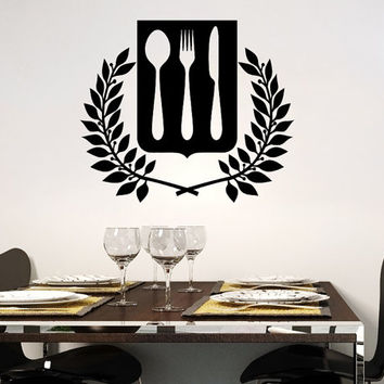 Wall Decal Vinyl Sticker Decals Knife Fork Spoon Vintage Pattern Cutlery Cafe Kitchen Decor Dining Room Interior Murals Window Decal AN736