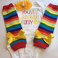 Baby Girl Outfit-You Are My Sunshine - baby summer outfit - newborn girl outfit - rainbow outfit legwarmers