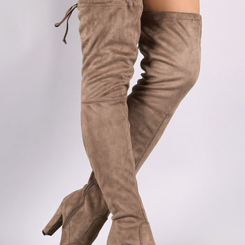 "Breckelle Suede Almond Toe Over-The-Knee Chunky Heel Boots Thigh High Boots Heel Height: 4"" Shaft Length: 27.5"" (including heel) Top Opening Circumference: 17"" Natural & Olive & Black & Wine & Taupe"