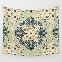 Protea Pattern in Deep Teal, Cream, Sage Green & Yellow Ochre Wall Tapestry by Micklyn