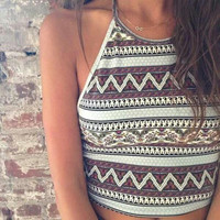 Sleeveless with Geometric Print