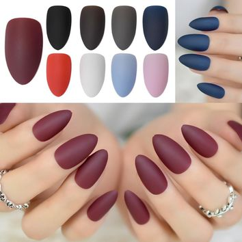 Fashion Matte Frosted Stiletto False Fake Nails Pure Burgundy Pink Grey Oval Sharp Pointed Classic Black Blue Red Design Tips