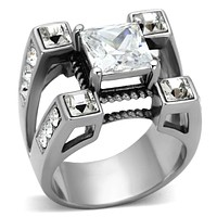 Mens Stainless Steel Rings TK1072 Stainless Steel Ring with AAA Grade CZ