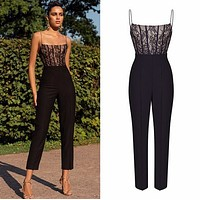 Fashion casual lace suspender sleeveless Jumpsuit
