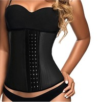 Lttcbro Women's Latex Waist Training Corset Steel Boned Underbust Rubber Cincher