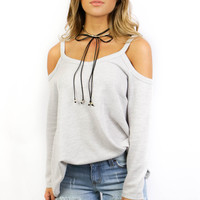 Only Yesterday Long Sleeve Cold Shoulder Top
