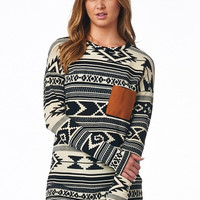 Aztec Top With Contrast Pocket