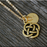Gold Celtic Knot Charm Necklace, Initial Charm Necklace, Personalized, Celtic Charm, Celtic Knot Pendant, Celtic Jewelry