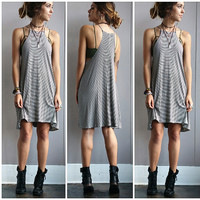 A Halter Cut Tee Dress in Black and Oat Stripes