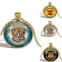 8 Styles Newest Harry Potter Necklace Hogwarts Crest Pendant