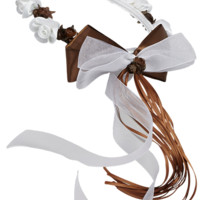 Chocolate Brown Floral Crown Wreath Handmade with Silk Flowers, Satin Ribbons & Bows (Girls)
