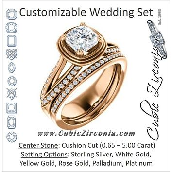 CZ Wedding Set, featuring The Reina engagement ring (Customizable Ridged-Bevel Surrounded Cushion Cut with 3-sided Split-Pavé Band)