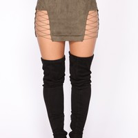 Drinks Are On Me Lace Up Skirt - Olive