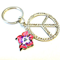 Hippie Chic Peace Sign Keychain, Rhinestone Peace Symbol Pendant, Peace Key Ring, Pink Enamel Floral Charm Key Chain, Cool Gift Under 20