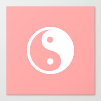 Coral Pink Harmony Yin Yang Stretched Canvas by BeautifulHomes   Society6