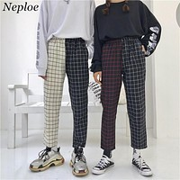 Neploe Vintage Paid Patchwork Pants Harajuku Woman Man Trousers Elastics High Waist Pants Korean Causal Straight Pants 37403
