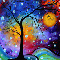 Winter Sparkle Original Madart Painting Painting by Megan Duncanson - Winter Sparkle Original Madart Painting Fine Art Prints and Posters for Sale