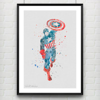 Captain America Watercolor Print, Marvel Superhero Watercolor Poster, Boys Room Wall Art, Home Decor, Not Framed, Buy 2 Get 1 Free! [No. 57]