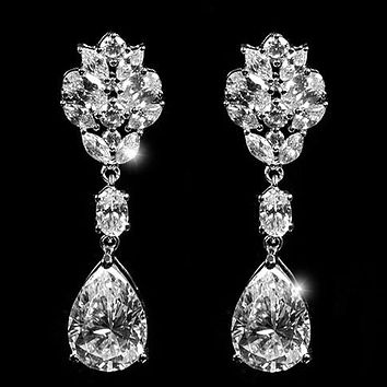 Melita Pear Cluster Dangle Earrings | 44mm