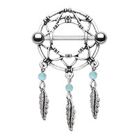 Dreamcatcher Surgical Steel Nipple Ring Barbell
