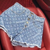 Hot 2018 ! LV Louis Vuitton X Supreme Fashion Women Casual Denim Shorts I
