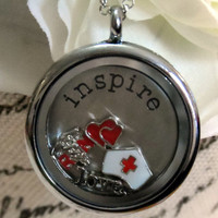 Nursing / Registered Nurse Floating Memory Locket - Includes Locket, Charms, Thought Disc and FREE chain