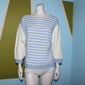 Vintage 80s STRIPED SWEATER / Baby Blue and White Knit / Dolman Sleeves / Slouchy, Winter Pullover Sweater / Small Med