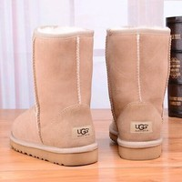 Tagre™ UGG Women Fashion Leather Snow Boots In Tube Boots Shoes