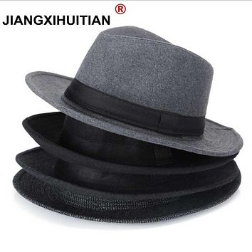 Wool men Black Fedora Hat For Women Wool Wide Brim JazzChic Cap Vintage Panama Sun Top Hat