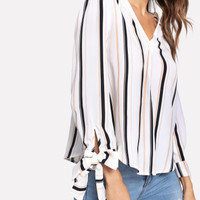 Bow Tied Cuff Vertical Striped Blouse -SheIn(Sheinside)