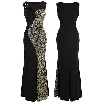 Women's Sheer Beading Splicing Lace Slit Long Sheath Evening Dress
