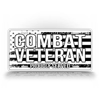 Combat Veteran Proudly Served -B&W American Flag License Plate
