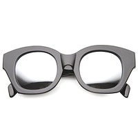 Oversize Indie Bold Frame Mirrored Lens Sunglasses 9983