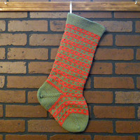 Striped Christmas Stocking, Hand Knit in Forest green with Rouge Red Stripes, Can Be Personalized, Housewarming/ Wedding/ Baby Gift