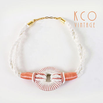 Vintage Statement Necklace Big Chunky Braided Woven Peach and White Novelty Jewelry / Unique Avant Garde 1980's Necklaces or Belt 70s Retro